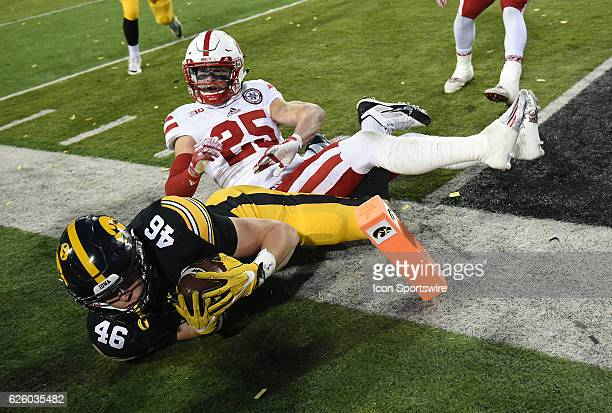 Iowa Hawkeyes tight end George Kittle scores in the third period during a Big Ten Conference football game between the Nebraska Cornhuskers and the...