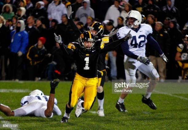 Iowa Kicker Daniel Murray celebrates with teammate Ryan Donahue after kicking the game winning field goal defeating Penn State Nittany Lions with six...
