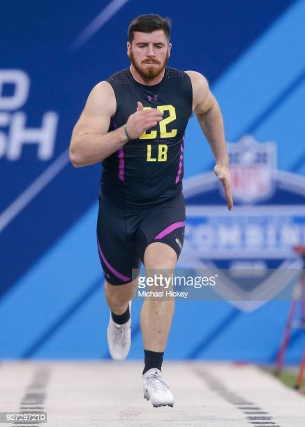 Iowa linebacker Josey Jewell runs in the 40 yard dash during the NFL Scouting Combine at Lucas Oil Stadium on March 4 2018 in Indianapolis Indiana