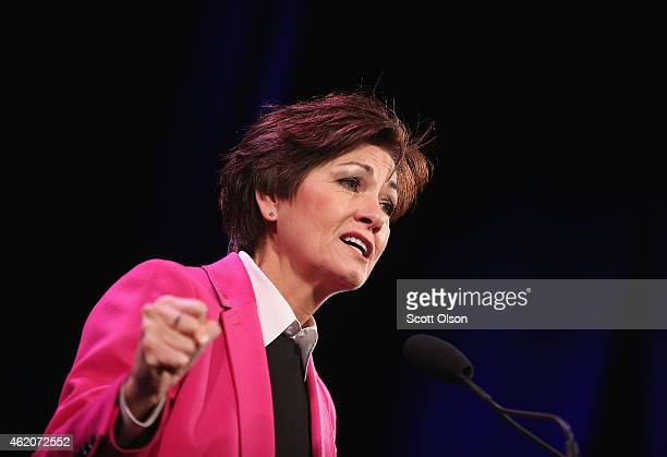 Iowa Lt Gov Kim Reynolds speaks to guests at the Iowa Freedom Summit on January 24 2015 in Des Moines Iowa The summit is hosting a group of potential...