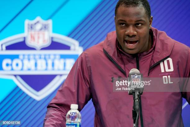 Iowa offensive lineman James Daniels speaks to the media during NFL Combine press conferences at the Indiana Convention Center on March 1 2018 in...