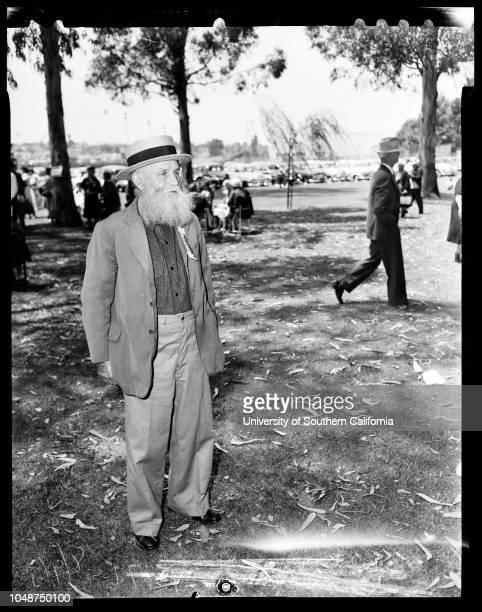 Iowa Picnic , 9 August 1952. Gary Priebe -- 11 years;Joey Priebe -- 8 1/2 years;Frank Merriam ;Burton W Chace;Eugene Labarre;Benton Ballou -- 88...