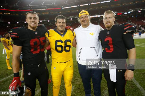 Iowa State alumni George Kittle and CJ Beathard of the San Francisco 49ers along with Austin Blythe and Aaron Donald of the Los Angeles Rams stand on...