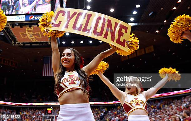 Iowa State Cyclones cheerleaders cheer on their team in the second half of play at Hilton Coliseum on February 13 2016 in Ames Iowa The Iowa State...