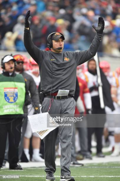 Iowa State Cyclones coach Matt Campbell reacts to a play during the fourth quarter of a NCAA college football game against the Memphis Tigers in the...