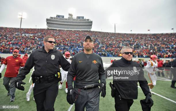Iowa State Cyclones coach Matt Campbell walks out to midfield after winning a NCAA college football game against the Memphis Tigers in the AutoZone...