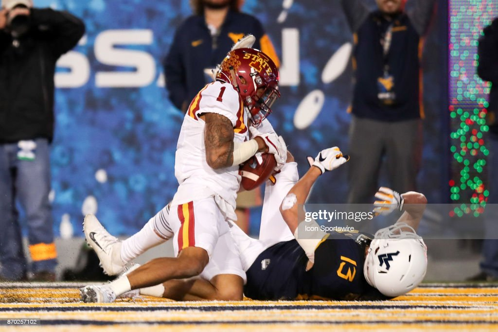 Iowa State Cyclones defensive back D'Andre Payne (1) intercepts a pass intended for West Virginia Mountaineers wide receiver David Sills V (13) in the end zone during the fourth quarter of the college football game between the Iowa State Cyclones and the West Virginia Mountaineers on November 4, 2017, at Mountaineer Field at Milan Puskar Stadium in Morgantown, WV. West Virginia defeated Iowa State 20-16.
