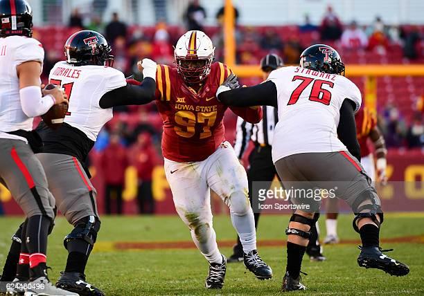 Iowa State Cyclones defensive lineman Demond Tucker rushes Texas Tech Red Raiders quarterback Patrick Mahomes II during the first half of an NCAA...