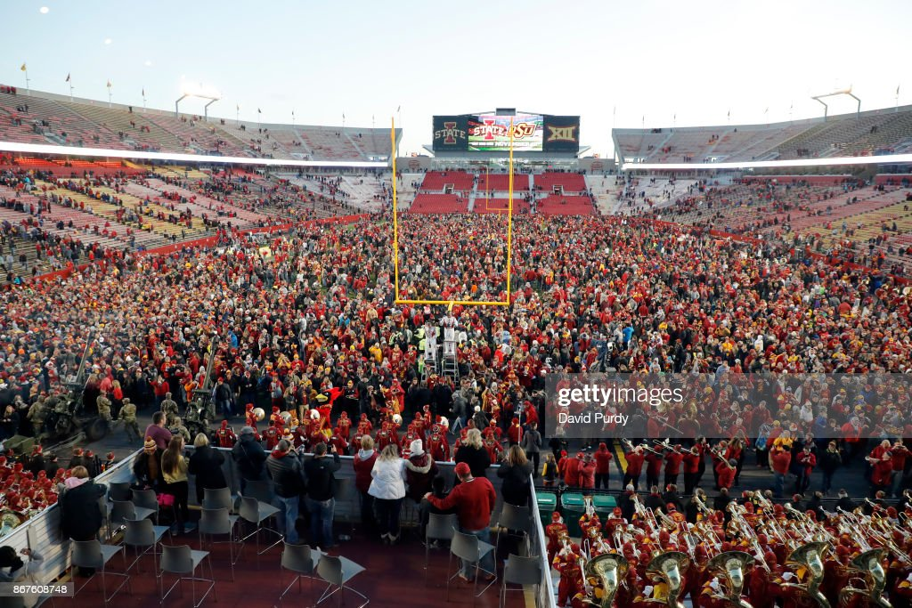 Iowa State Cyclones fans stormed the field after the Cyclones won 14-7 over the TCU Horned Frogs in the second half of play at Jack Trice Stadium on October 28, 2017 in Ames, Iowa. The Iowa State Cyclones won 14-7 over the TCU Horned Frogs.