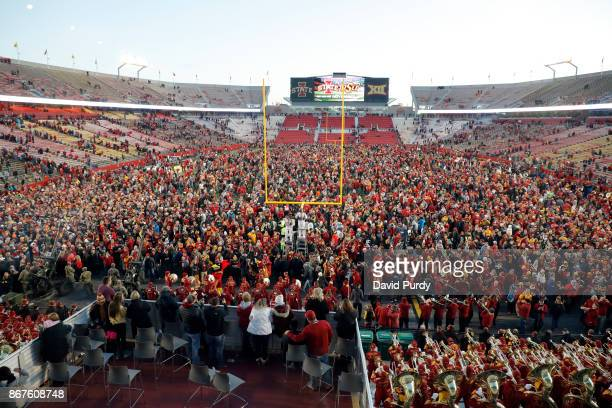 Iowa State Cyclones fans stormed the field after the Cyclones won 147 over the TCU Horned Frogs in the second half of play at Jack Trice Stadium on...