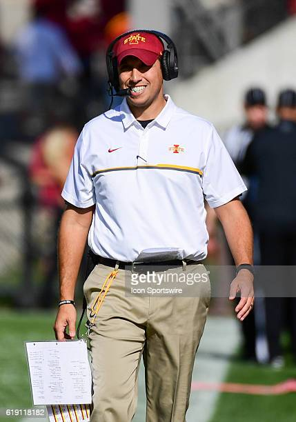 Iowa State Cyclones Head Coach Matt Campbell smiles as he hears a favorable ruling from the referees during the first half of an NCAA football game...