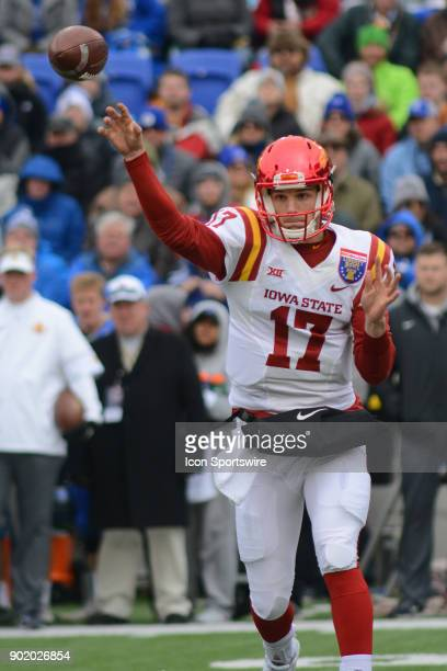 Iowa State Cyclones Kyle Kempt passes during the AutoZone Liberty Bowl game between the Memphis Tigers and the Iowa State Cyclones on December 30...