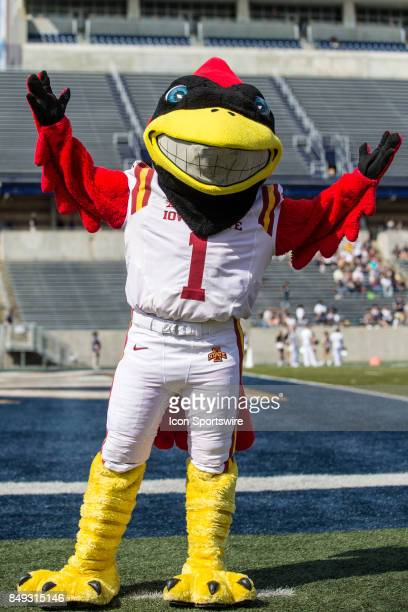 Iowa State Cyclones mascot Cy the Cardinal on the field prior to the college football game between the Iowa State Cyclones and Akron Zips on...