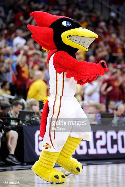 Iowa State Cyclones mascot Cy the Cardinal performs in the second half of their game against the Oklahoma Sooners during a semifinal game of the 2015...