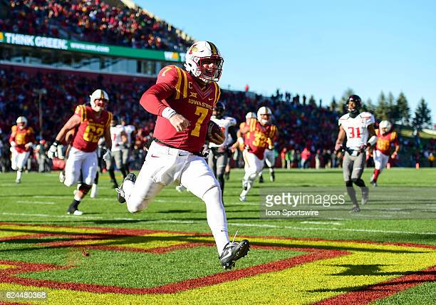 Iowa State Cyclones quarterback Joel Lanning scores a touchdown during the first half of an NCAA football game between the Texas Tech Red Raiders and...