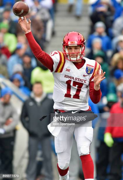 Iowa State Cyclones quarterback Kyle Kempt makes a pass during the first quarter of the AutoZone Liberty Bowl game between the Memphis Tigers and the...