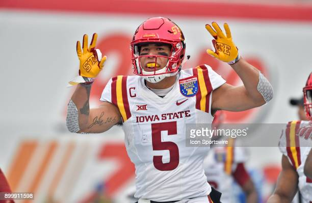 Iowa State Cyclones receiver Allen Lazard celebrates after scorning a third quarter touchdown during the AutoZone Liberty Bowl game between the...