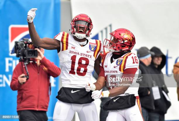 Iowa State Cyclones receiver Hakeem Butler with receiver Marchie Murdock after a first quarter touchdown during the AutoZone Liberty Bowl game...