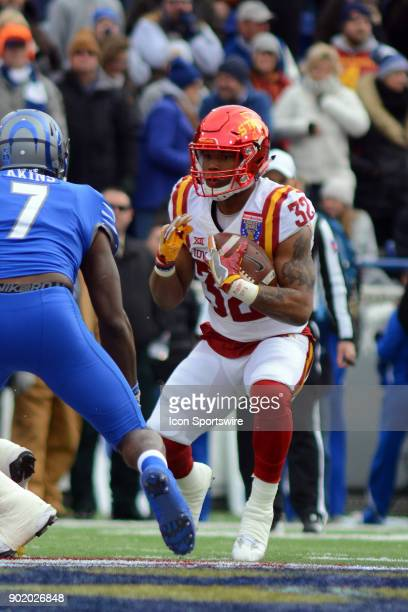 Iowa State Cyclones running back David Montgomery approaches Memhis Tigers linebacker Curtis Akins during the AutoZone Liberty Bowl game between the...