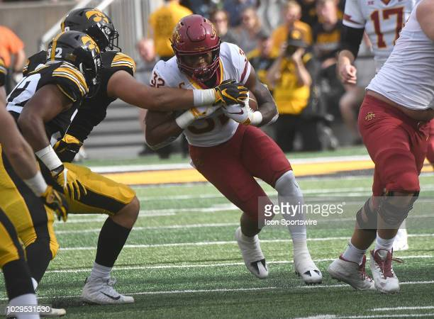 Iowa State Cyclones running back David Montgomery carries the ball in the first half during a non conference college football game between the Iowa...