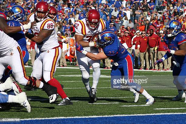 Iowa State Cyclones running back David Montgomery is stopped short of the goal line by Kansas Jayhawks linebacker Keith Loneker Jr during the fourth...