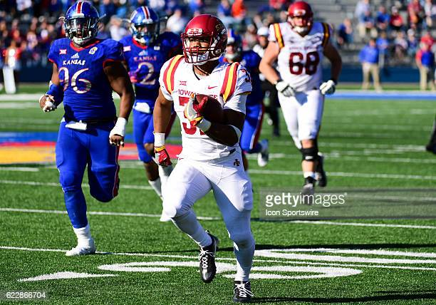 Iowa State Cyclones running back David Montgomery runs in for a touchdown during the second half of an NCAA football game between the Iowa State...
