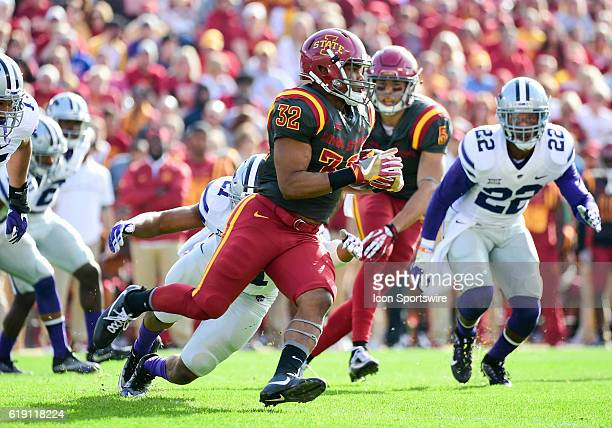 Iowa State Cyclones running back David Montgomery runs the ball up field during the first half of an NCAA football game between the Kansas State...