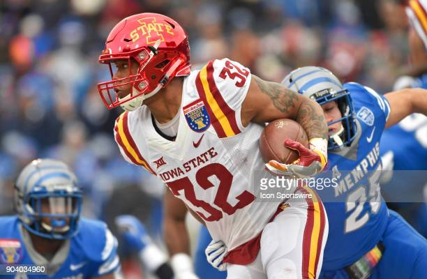 Iowa State Cyclones running back David Montgomery rushes upfield during the first quarter of a NCAA college football game against the Memphis Tigers...