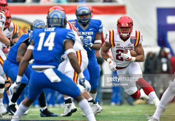 Iowa State Cyclones running back Sheldon Croney Jr looks for an open hole in the Memphis Tigers' defense during the first quarter during the AutoZone...