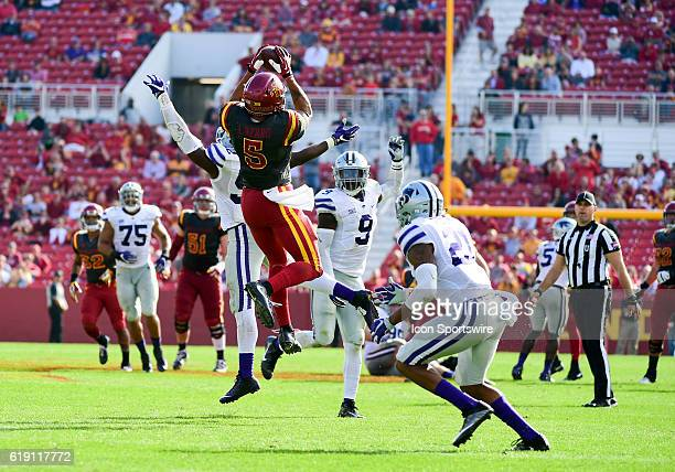 Iowa State Cyclones wide receiver Allen Lazard makes a catch as Kansas State Wildcats linebacker Elijah Lee Kansas State Wildcats defensive back...