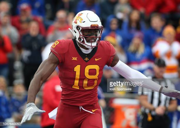 Iowa State Cyclones wide receiver Hakeem Butler after a 51yard touchdown catch in the first quarter of a Big 12 football game between the Iowa State...