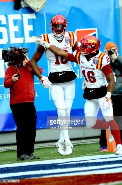 Iowa State Cyclones wide receiver Hakeem Butler celebrates a touchdown reception during the AutoZone Liberty Bowl game between the Memphis Tigers and...