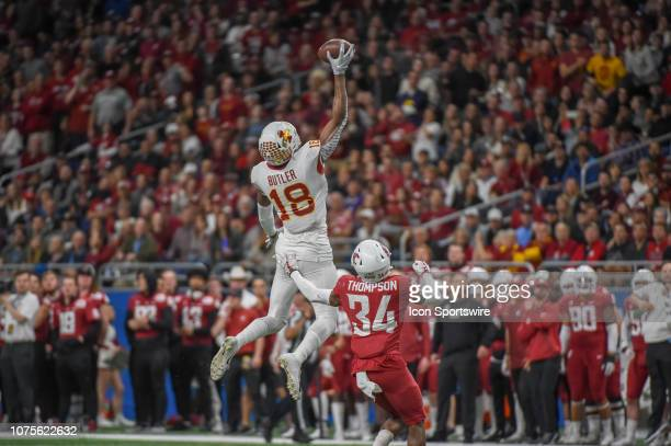 Iowa State Cyclones wide receiver Hakeem Butler extends to make a spectacular second half onehanded pass reception during the football game between...