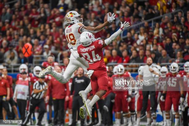 Iowa State Cyclones wide receiver Hakeem Butler extends to make a spectacular onehanded catch over Washington State Cougars safety Jalen Thompson...