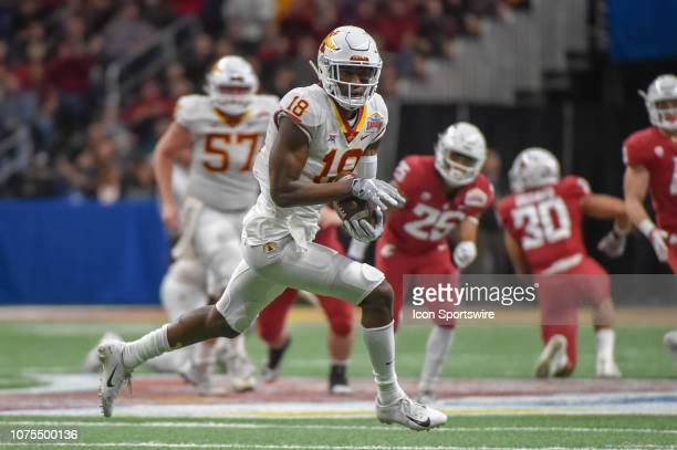 Iowa State Cyclones wide receiver Hakeem Butler finds open space across the middle after a first half reception during the football game between the...