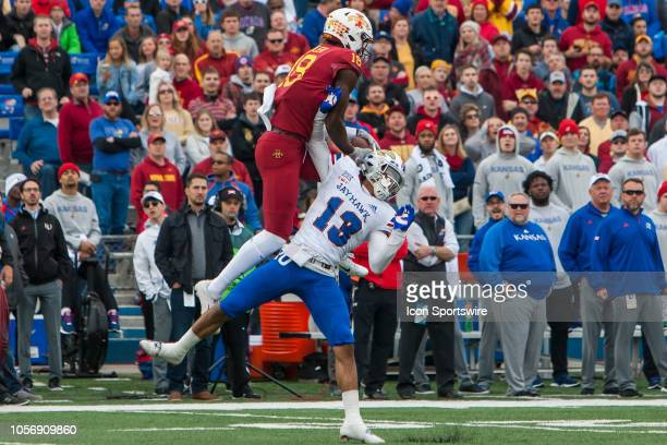 Iowa State Cyclones wide receiver Hakeem Butler leaps over Kansas Jayhawks cornerback Hasan Defense for the catch and eventual touchdown during the...