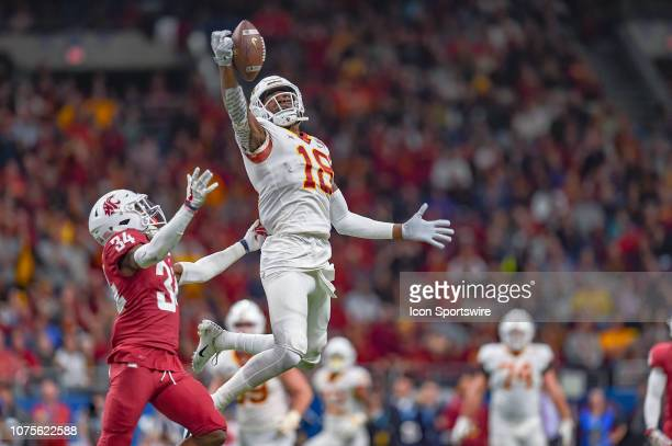 Iowa State Cyclones wide receiver Hakeem Butler reaches out for a catch during the Alamo Bowl between the Washington State Cougars and Iowa State...