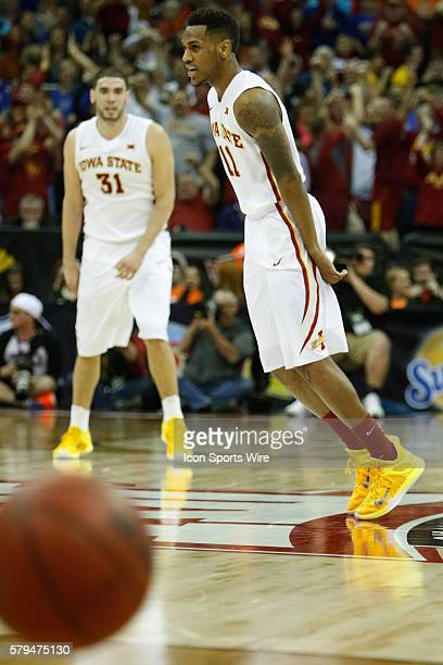 Iowa State guard Monte Morris reacts after making a threepoint shot during the Thursday game between Iowa State and Texas in the Big 12 Tournament at...