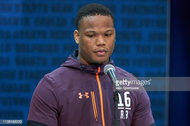 Iowa State running back David Montgomery answers questions from the media during the NFL Scouting Combine on February 28 2019 at the Indiana...
