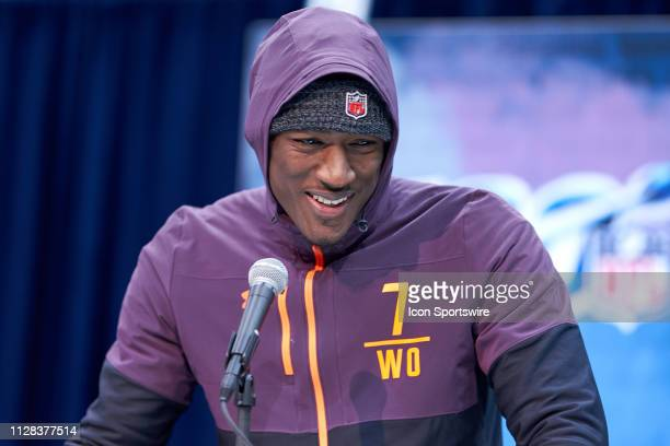 Iowa State wide receiver Hakeem Butler answers questions from the media during the NFL Scouting Combine on March 01 2019 at the Indiana Convention...