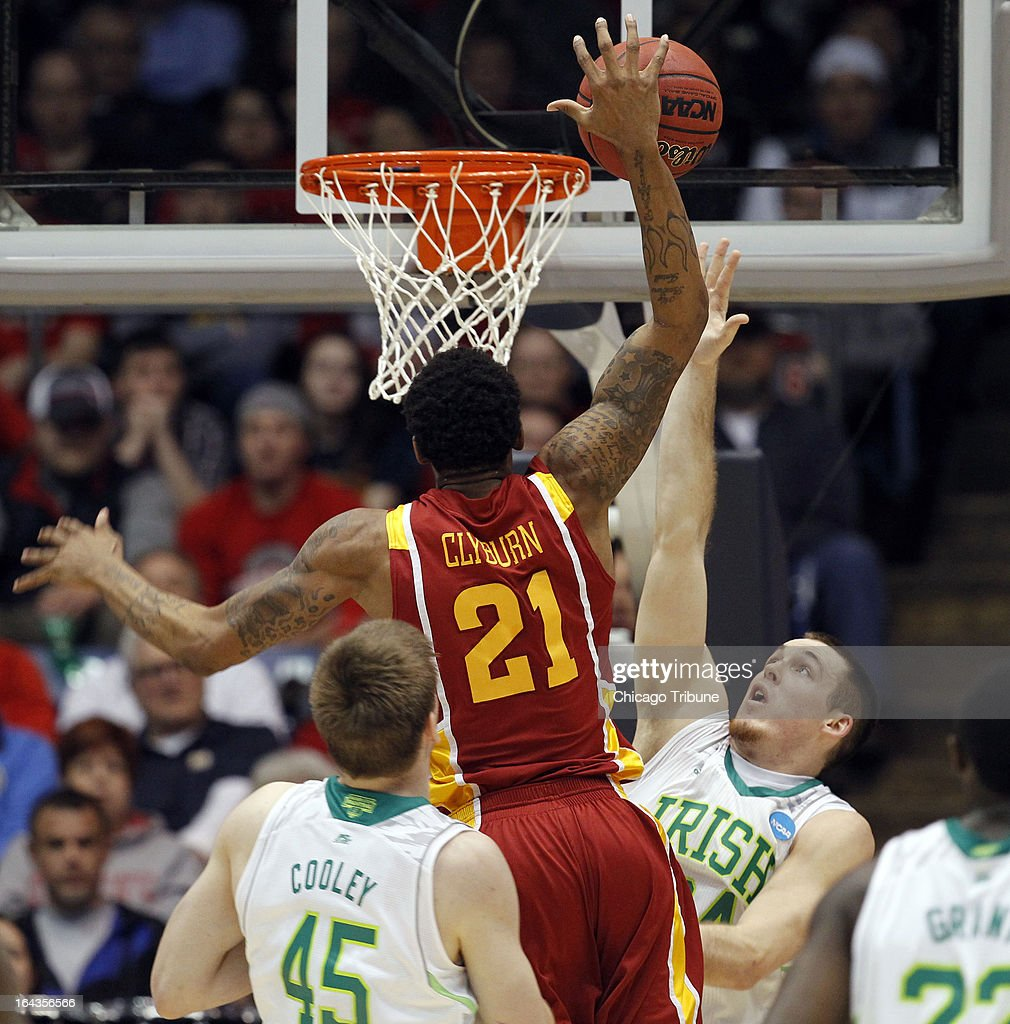 Iowa State's Will Clyburn (21) goes to the rim against Notre Dame's Pat Connaughton in the first half during an NCAA Tournament second-round game at University of Dayton Arena in Dayton, Ohio, on Friday, March 22, 2013.