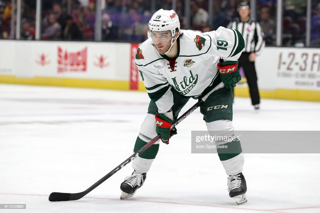 Iowa Wild center Luke Kunin (19) on the ice during the first period of the American Hockey League game between the Iowa Wild and Cleveland Monsters on January 27, 2018, at Quicken Loans Arena in Cleveland, OH. Iowa defeated Cleveland 3-1.