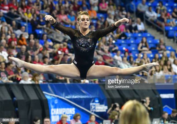 Iowa's Angel Metcalf as seen during her floor routine during semifinal I of the NCAA Women's Gymnastics National Championship on April 14 at Chaifetz...