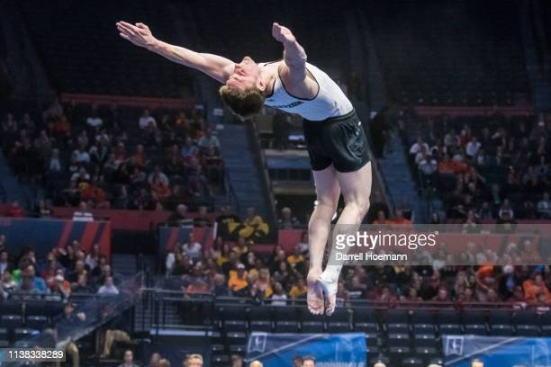 Iowas Jake Brodarzon competes in the floor exercise during the Division I Men's Gymnastics Championship held at the State Farm Center on April 20...