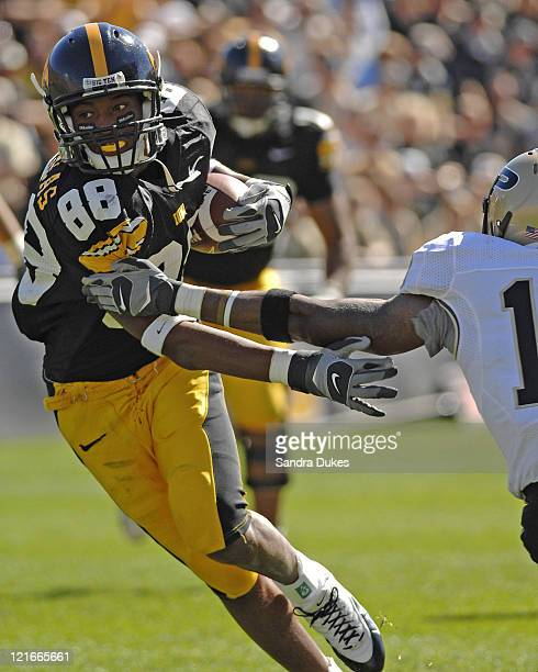 Iowa's SE Dominique Douglas runs up field after a catch in the 3rd quarter Iowa defeated Purdue in Kinnick Stadium in Iowa City Iowa 4717 on October...