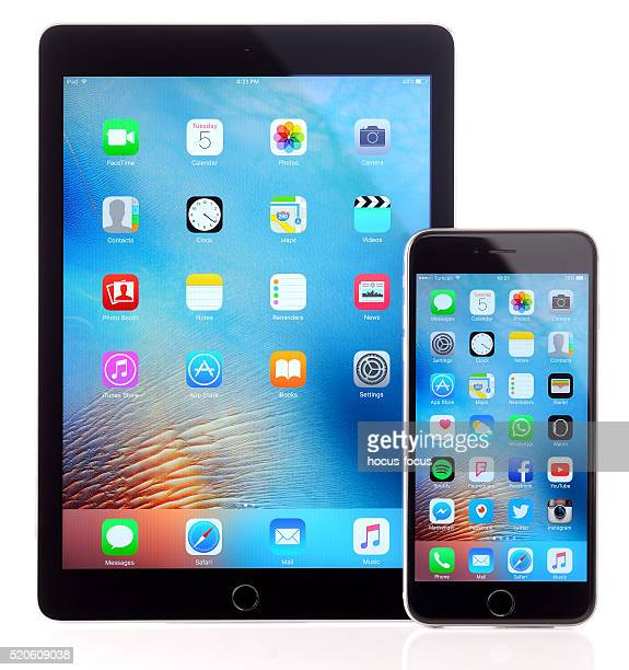 iPad Air 2 and iPhone 6 Plus on white background