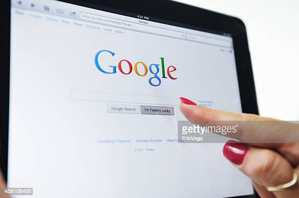 ipad displaying the google web site - google stock pictures, royalty-free photos & images