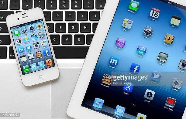 ipad & iphone & macbook - camera icon stock pictures, royalty-free photos & images
