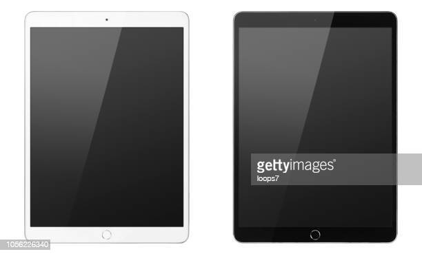 ipad pro black & white front view. size 12.9 inch. - loops7 stock photos and pictures