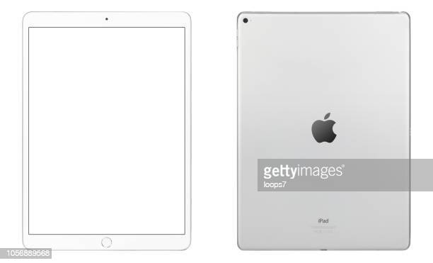 ipad pro white front & rear view. size: 12.9 inch. - loops7 stock photos and pictures